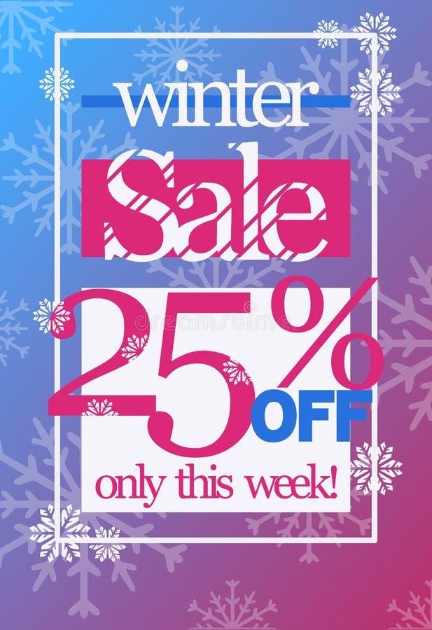 Zimy sprzedaż 25% z dyskontowego wektorowego ulotka szablonu fotografia royalty free
