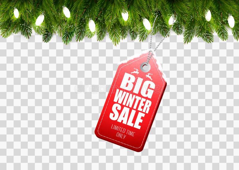 Zimy sprzedaży etykietka z Bożenarodzeniowymi gałąź drzewo ilustracja wektor