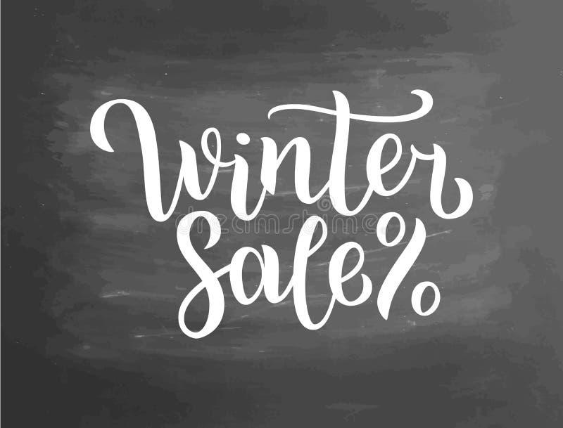 Zimy sprzedaży literowanie na blackboard Zimy sprzedaży teksta literowanie dla zaproszenia, kartka z pozdrowieniami, druki i plak ilustracji
