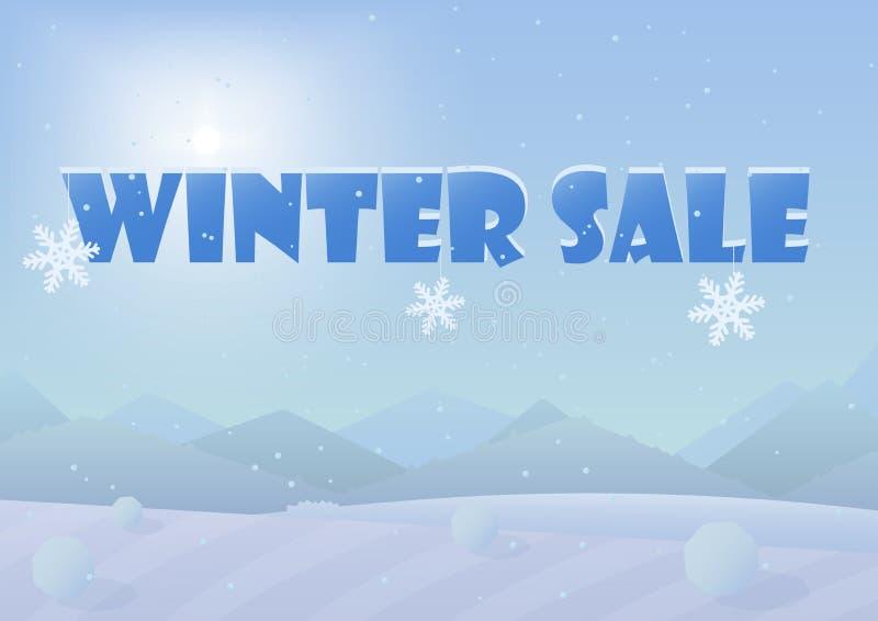 Zimy sprzedaży słowa na pięknej Chrismas zimie kształtują teren tło royalty ilustracja