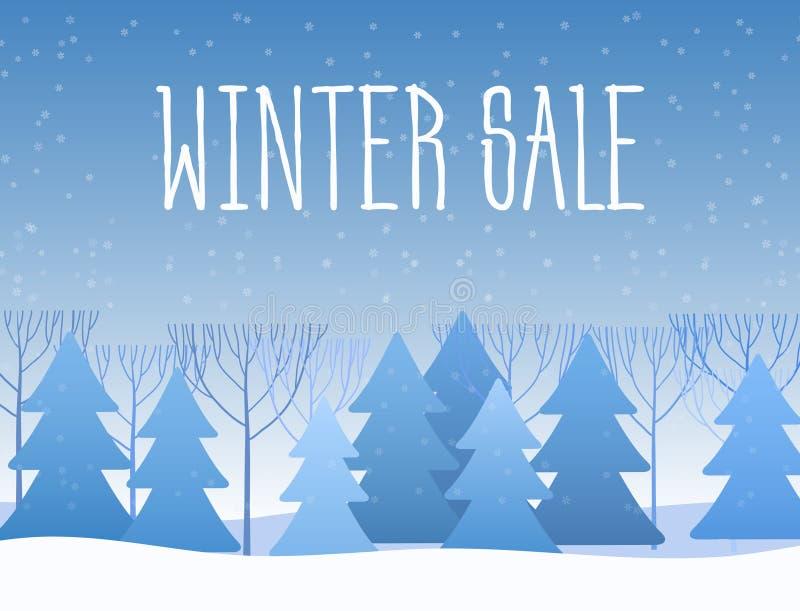 Zimy sprzedaży słowa na pięknych Chrismas zimy płaskich wakacjach kształtują teren tło z drzewami, płatki śniegu, spada royalty ilustracja
