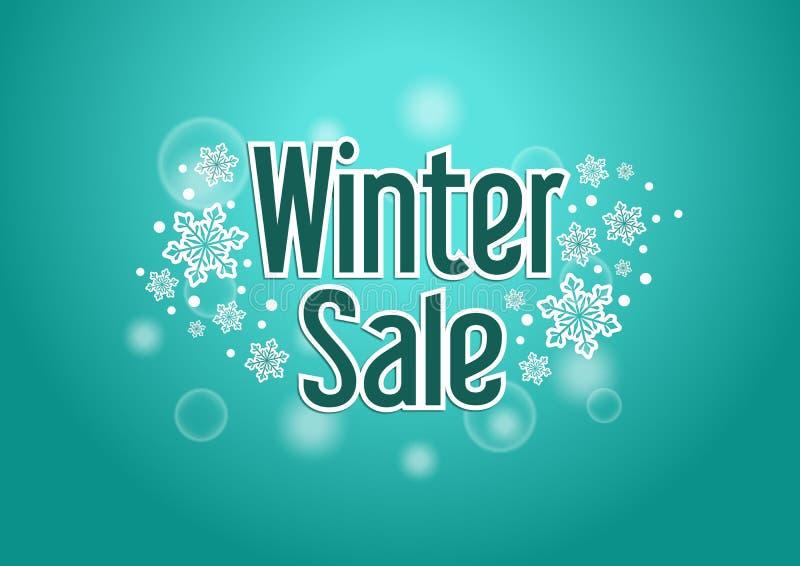 Zimy sprzedaży słowo z śniegami w tle ilustracji