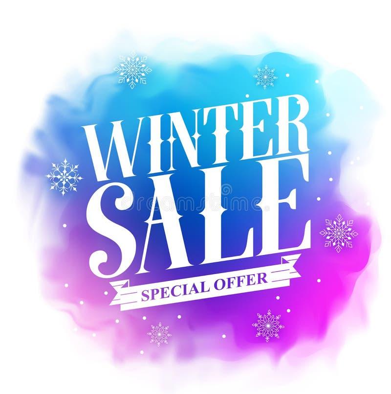 Zimy sprzedaży specjalnej oferty teksta projekt dla wakacyjnej promoci w kolorowej akwareli ilustracji