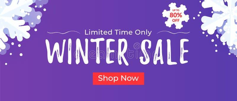 Zimy sprzedaży sztandar dla stron internetowych i opancerzania Sezonowy dyskontowy tło z płatek śniegu royalty ilustracja