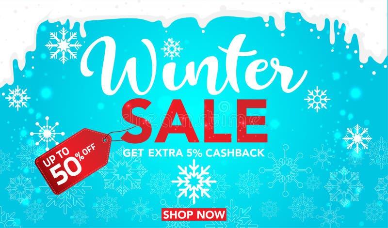 Zimy sprzedaży sztandaru szablonu projekt z śnieżnymi płatkami daleko do 50% Super sprzedaż, końcówka sezon specjalnej oferty szt ilustracja wektor
