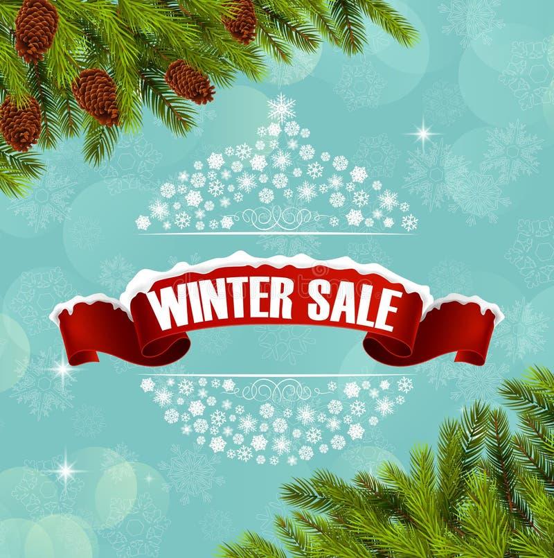 Zimy sprzedaży tła choinka i sztandar ilustracja wektor
