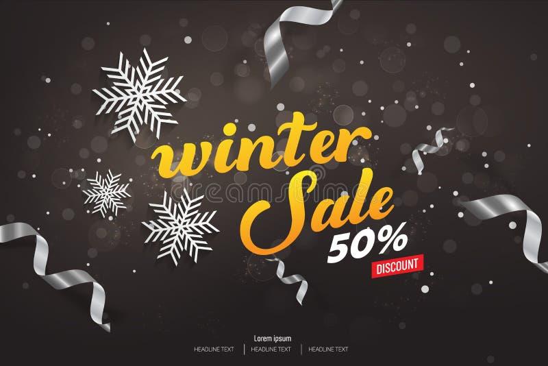 Zimy sprzedaży 50% tła Dyskontowa Wektorowa ilustracja ilustracji