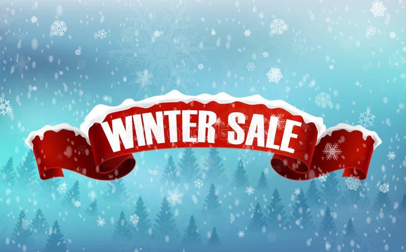 Zimy sprzedaży tło z czerwonym realistycznym tasiemkowym sztandarem i śniegiem royalty ilustracja