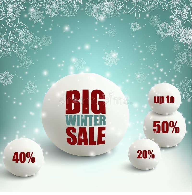 Zimy sprzedaży tło z snowballs ilustracja wektor