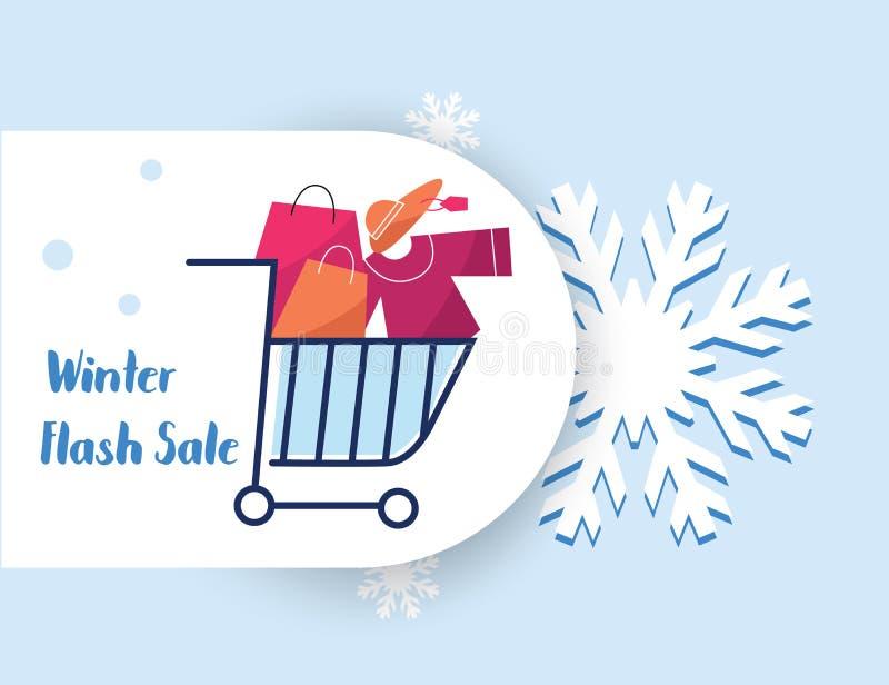 Zimy sprzedaży torby zakupy mapy błyskowej etykietki wektorowy sztandar w śniegu ilustracji