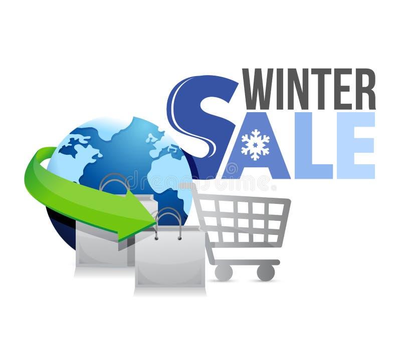 Zimy sprzedaży wózek na zakupy ilustracja ilustracji