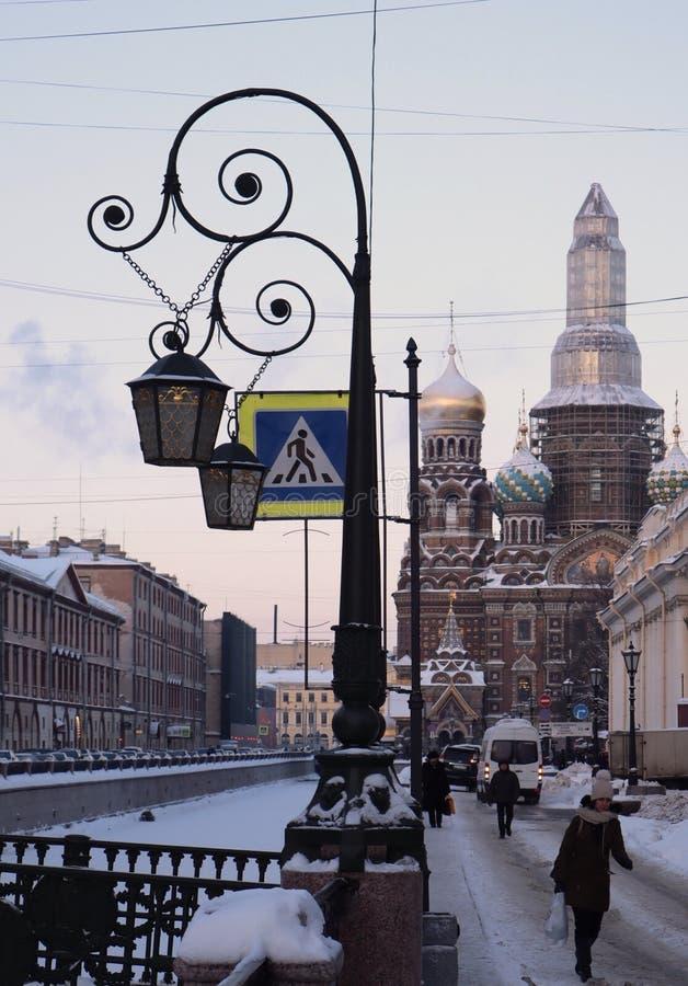 Zimy St Petersburg marznąca rzeka zdjęcie royalty free
