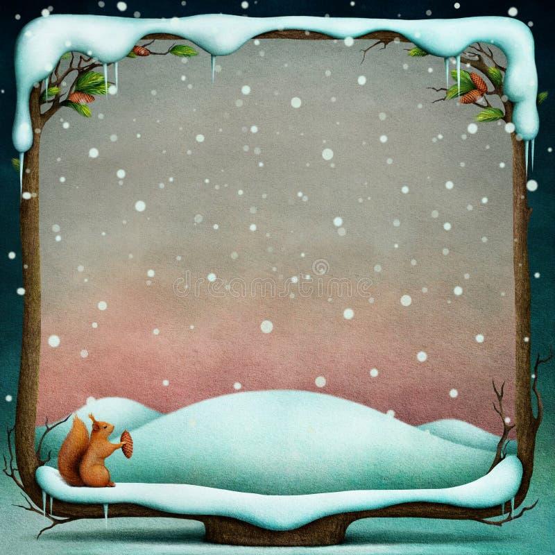 Zimy tło z śnieżną drewnianą ramą ilustracji