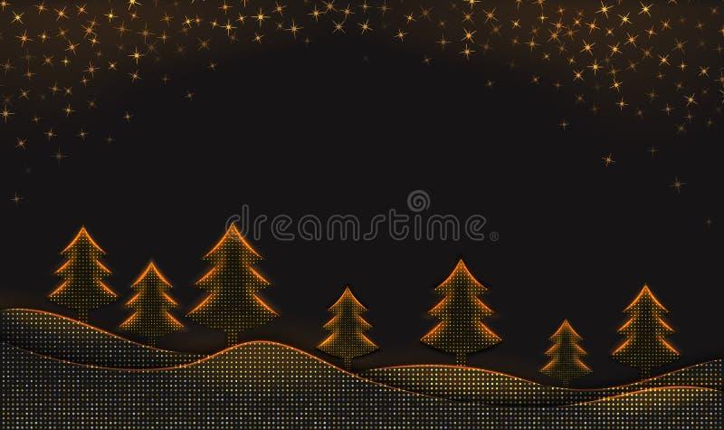 Zimy tło z śnieżnymi płatkami i choinkami na czarnym tle textured z złotym halftone wzorem ilustracja wektor