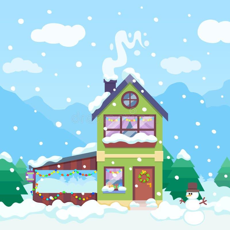Zimy tło z domu, bałwanu i świateł światłem dziennym Boże Narodzenia mieścą w górach Zima dnia ilustracja Bo?e Narodzenia royalty ilustracja