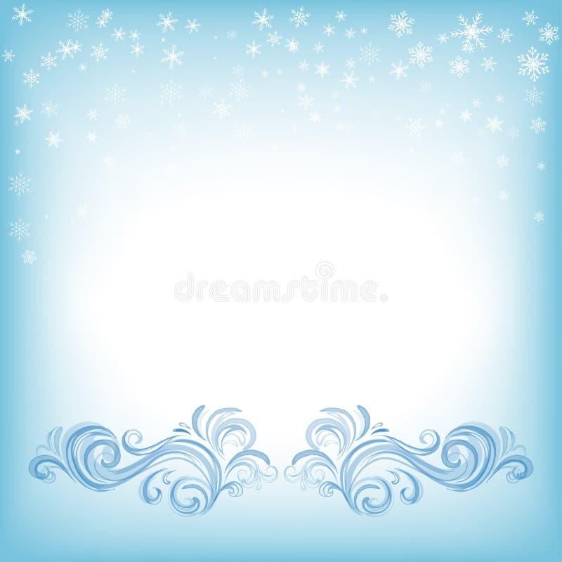 Zimy tło z płatek śniegu i zawijasami royalty ilustracja