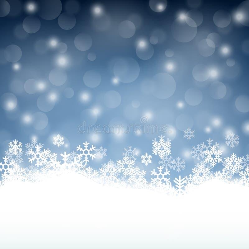 Zimy tło z pięknymi różnorodnymi płatkami śniegu royalty ilustracja