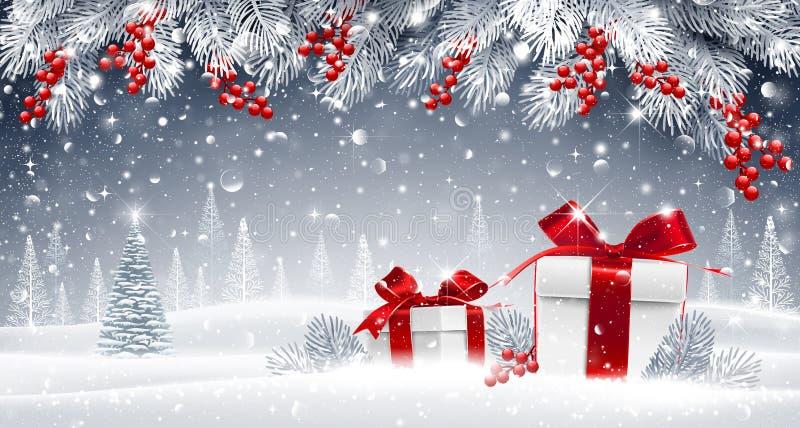 Zimy tło z prezentami ilustracja wektor