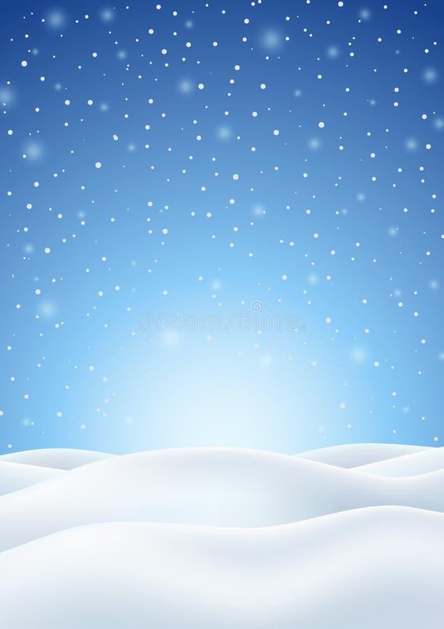 Zimy tło z Spadać Śnieżni i Śnieżni wzgórza royalty ilustracja