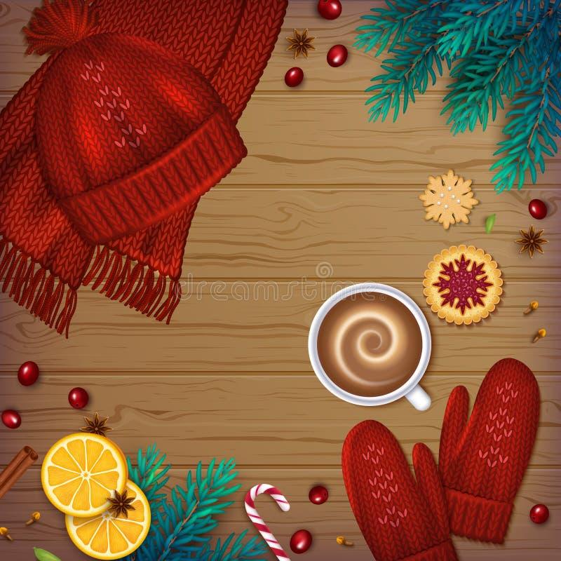 Zimy tradycyjny tło Bożenarodzeniowi elementy jedlinowi royalty ilustracja