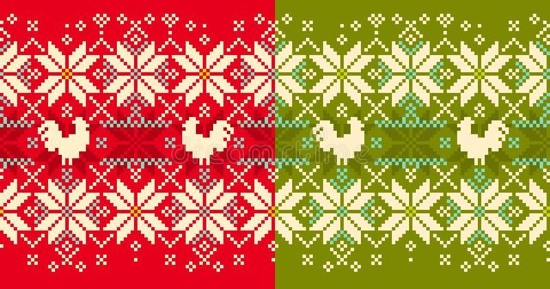 Zimy trykotowego cockerel bezszwowy wzór ilustracja wektor