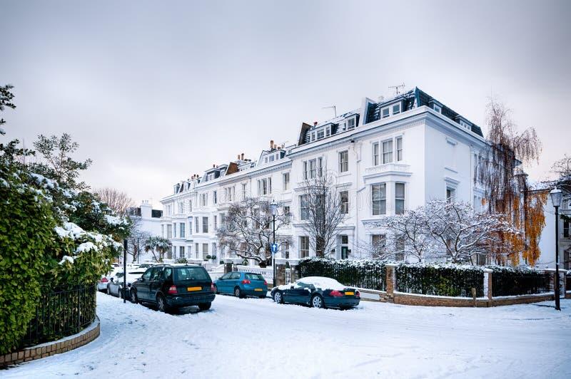 Zimy ulica Londyn, Anglia, - zdjęcia stock