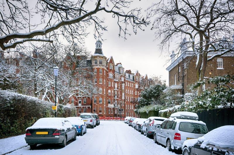 Zimy ulica Londyn, Anglia, - zdjęcia royalty free