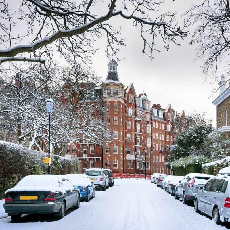 Zimy ulica Londyn, Anglia, - obraz royalty free