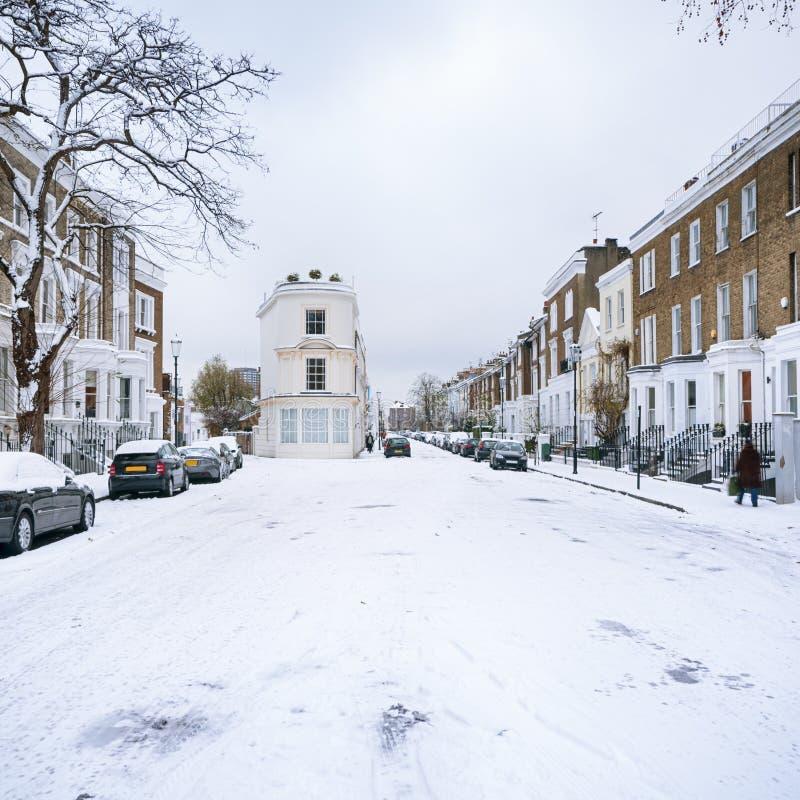 Zimy ulica Londyn, Anglia, - obrazy royalty free