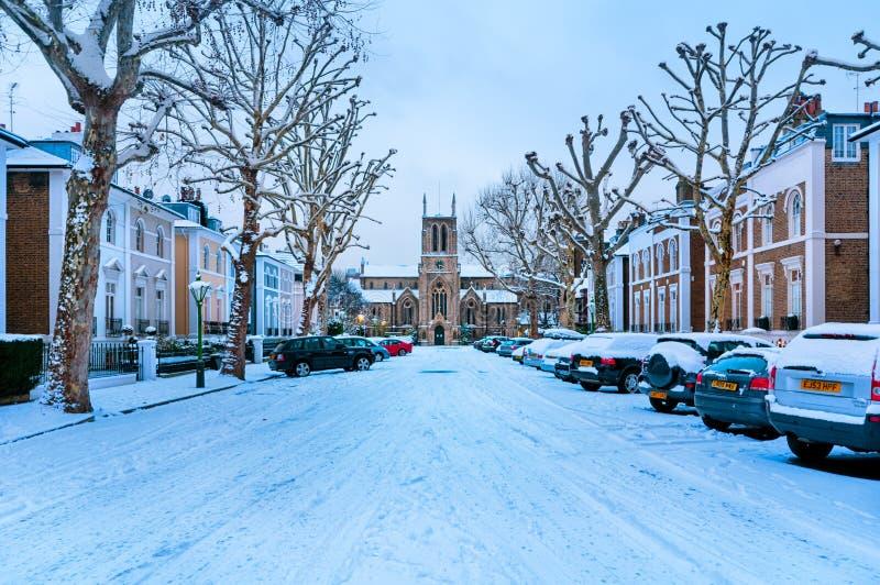 Zimy ulica Londyn, Anglia, - fotografia royalty free