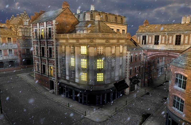 Zimy ulica przy półmrokiem z xix wiek miasta budynkami ilustracja wektor