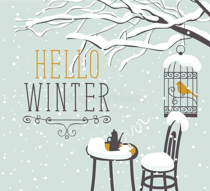 Zimy uliczna kawiarnia pod drzewem z ptakiem w klatce ilustracja wektor