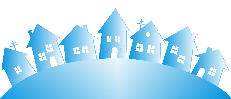 Zimy wioska, grupa domy, wektorowa ilustracja ilustracji