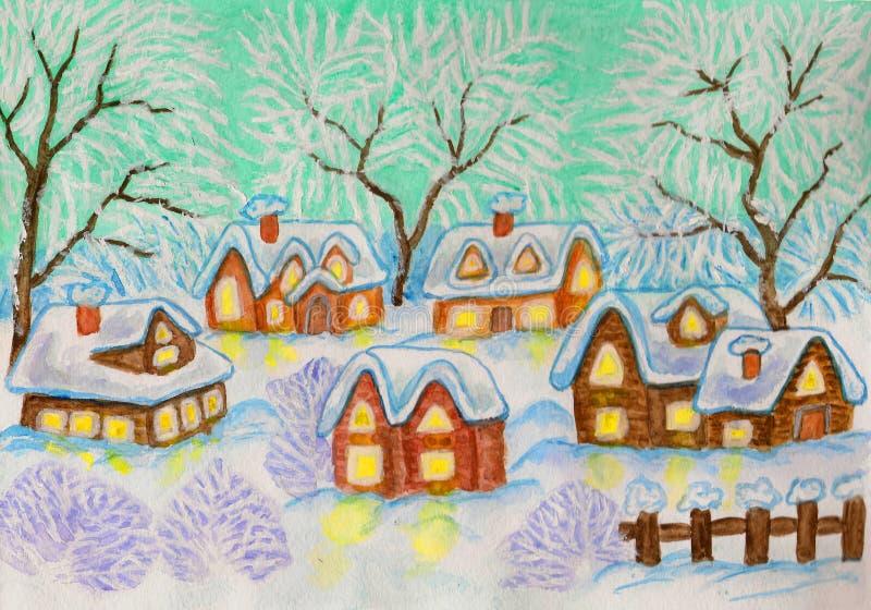Zimy wioska, maluje ilustracja wektor