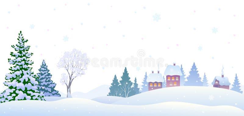 Zimy wioski tło ilustracji