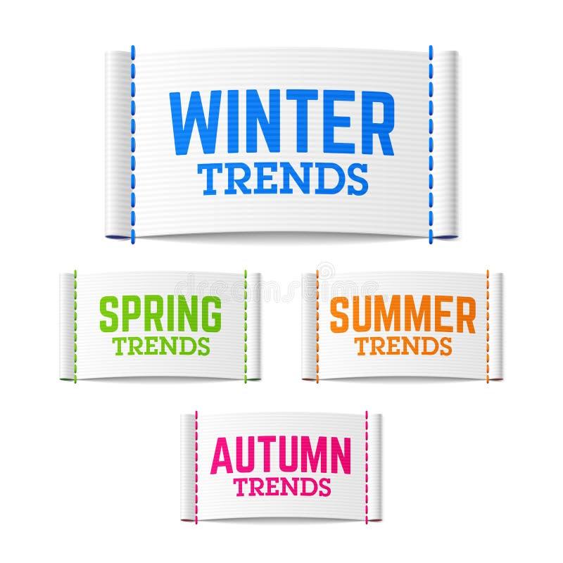 Zimy, wiosny, lata i jesieni trendów etykietki, ilustracja wektor