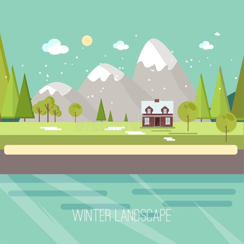 Zimy wsi krajobrazu miasta wioski Real Estate Śnieżnego Miastowego nowego roku Bożenarodzeniowej nocy i dnia tła Nowożytny Płaski ilustracja wektor