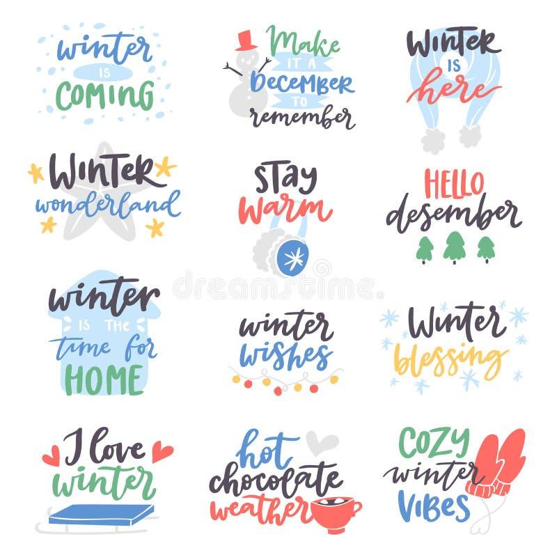 Zimy wycena wektoru karty teksta projekta loga literowania typografia mówi cześć Bożenarodzeniową plakatową wakacyjną cedułę ilustracja wektor