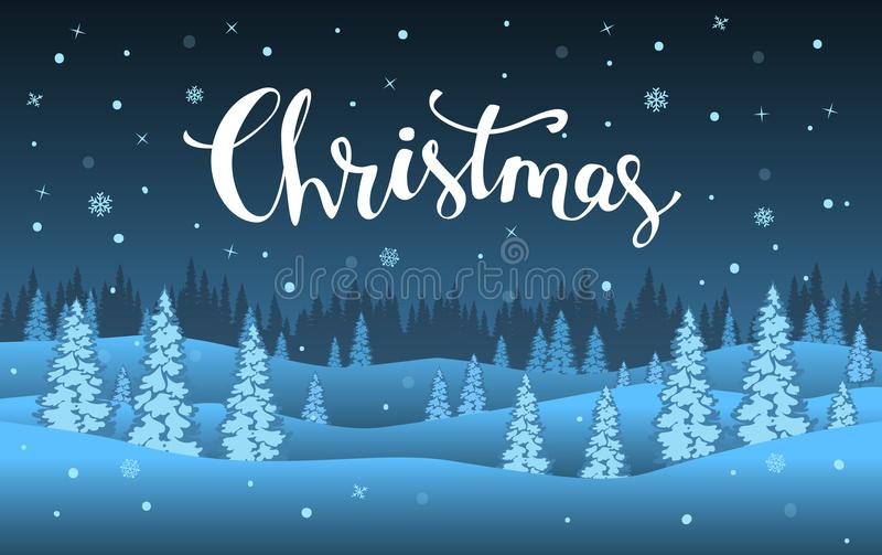 Zimy xmas bożych narodzeń nowego roku szczęśliwej kreskówki nocy błękitny krajobraz ilustracji