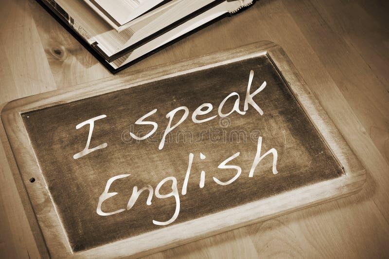Ik spreek het Engels stock foto's