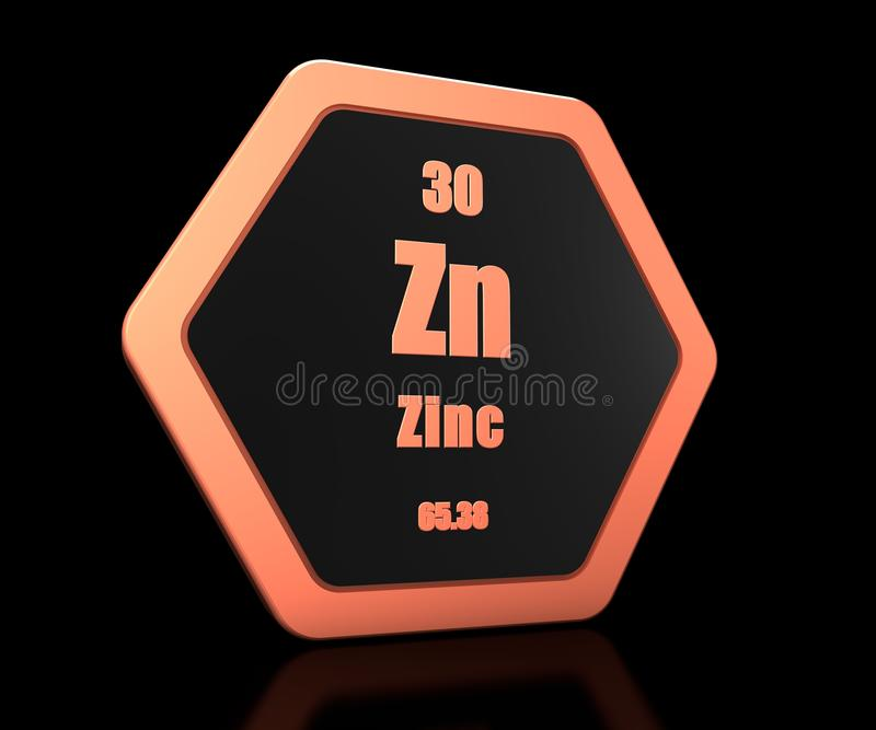 Zinc chemical element periodic table symbol 3d render vector illustration