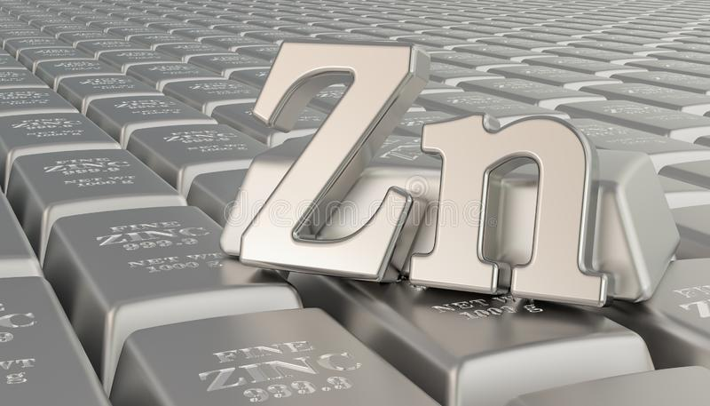 Zinc ingots background with Zn symbol. 3D rendering royalty free illustration