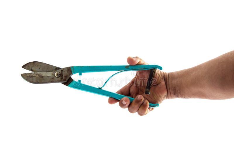Zinc scissors on white background. stock image