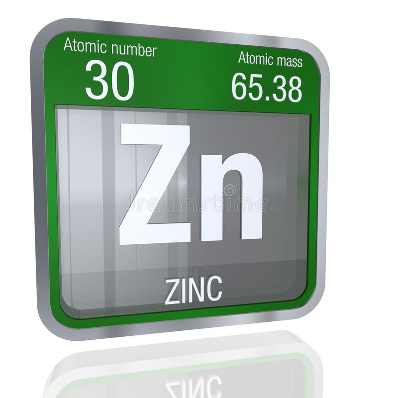 Zinc Symbol In Square Shape With Metallic Border And Transparent