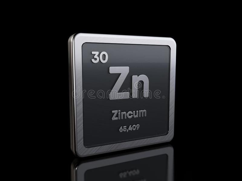 Zinc Zi, element symbol from periodic table series vector illustration