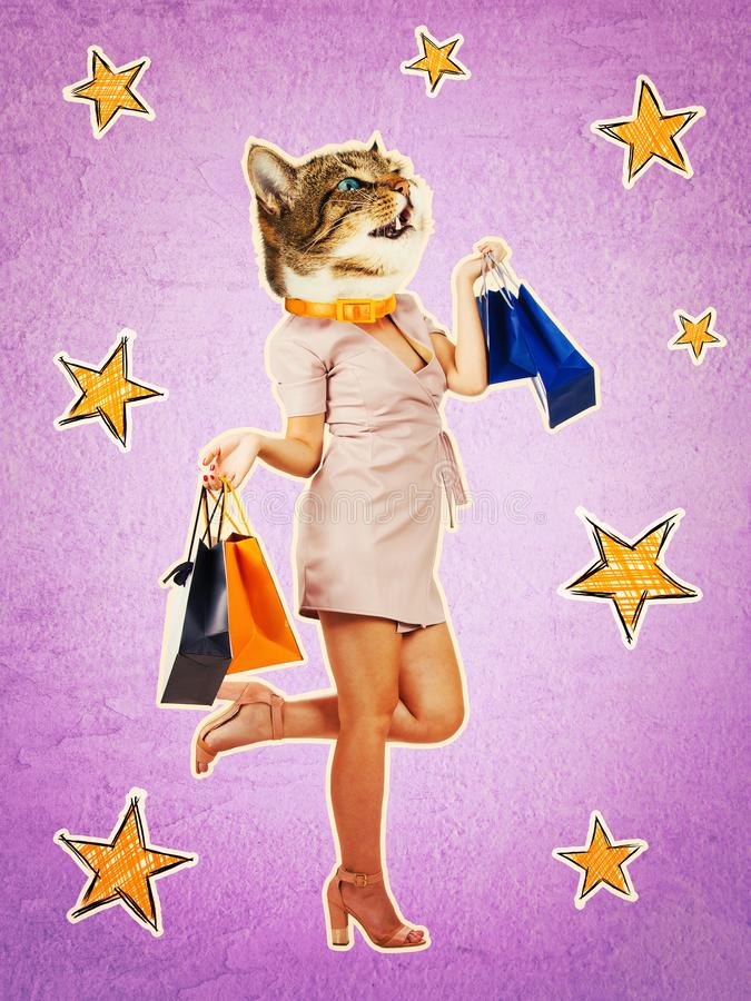 Zine culture. Contemporary art collage full length portrait of happy kitten headed woman, leg bent back carrying shopping bags after sale. Purple style collage stock photography