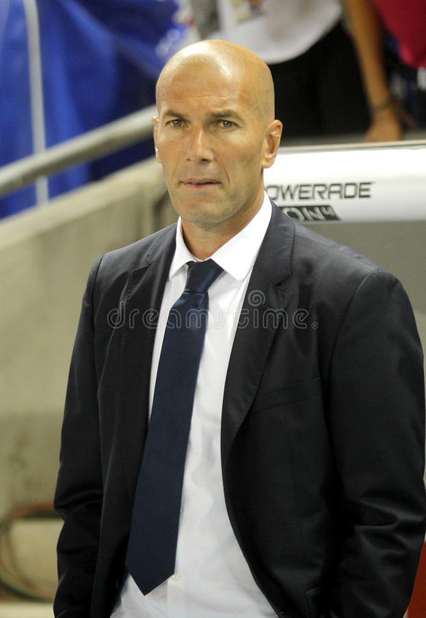 Zinedine Zidane manager of of Real Madrid. During a Spanish League match against RCD Espanyol at the RCDE Stadium on September 18 2016 in Barcelona Spain stock photo
