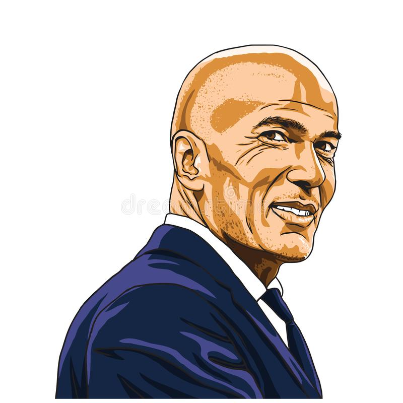 Zinedine Zidane Zizou Vector Illustration Portrait Madrid, 20 Juli, 2018 vector illustratie