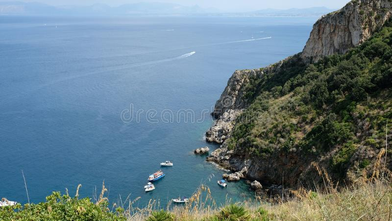 Cala del Varo from the Heights. Zingaro Reserve, Province of Trapani, Sicily. View of the beautiful cala del Varo from the heights stock photography