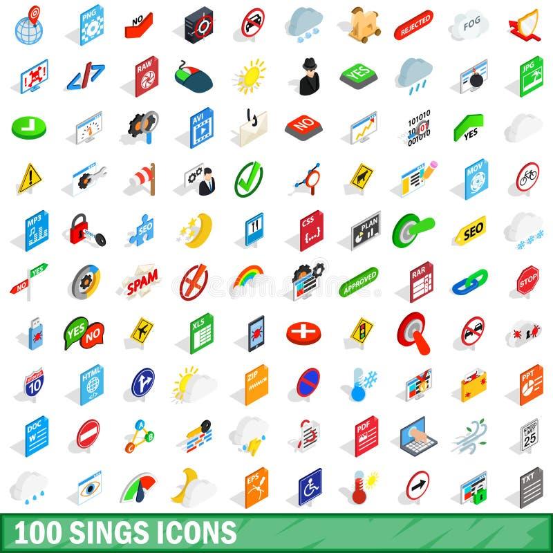100 zingen geplaatste pictogrammen, isometrische 3d stijl royalty-vrije illustratie